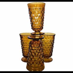 Amber Tumblers Vintage Indiana Glass Whitehall